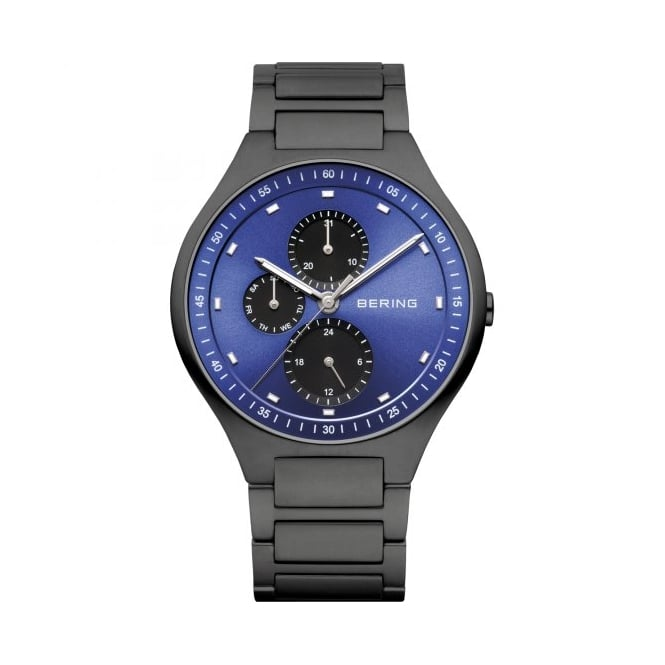 Bering Mens Round Blue Dial with Black Bracelet