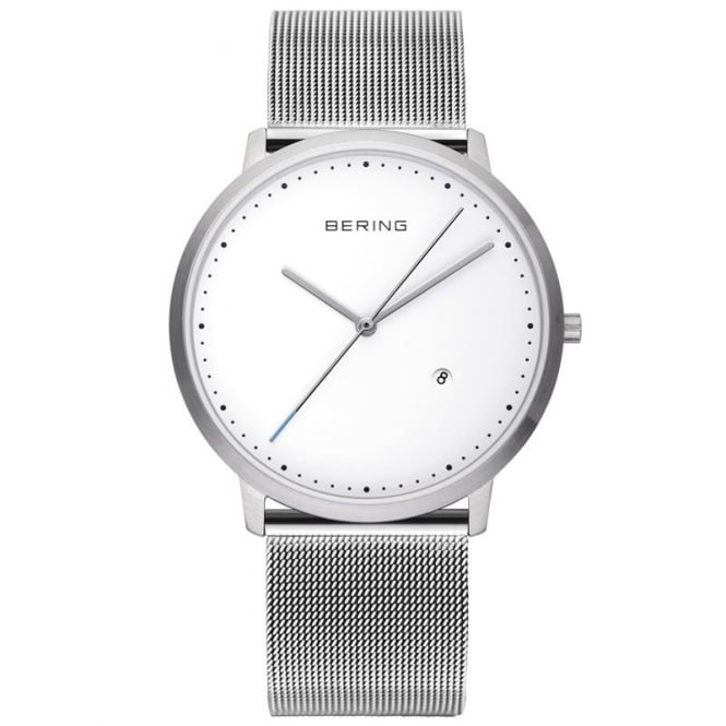 Bering Mens Round White Dial and Stainless Steel Bezel with a Stainless Steel Mesh Bracelet