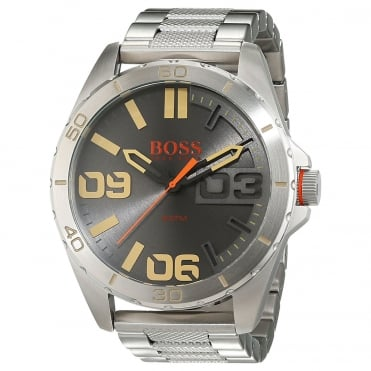 Mens Berlin Round Grey dial with a Stainless Steel Bracelet