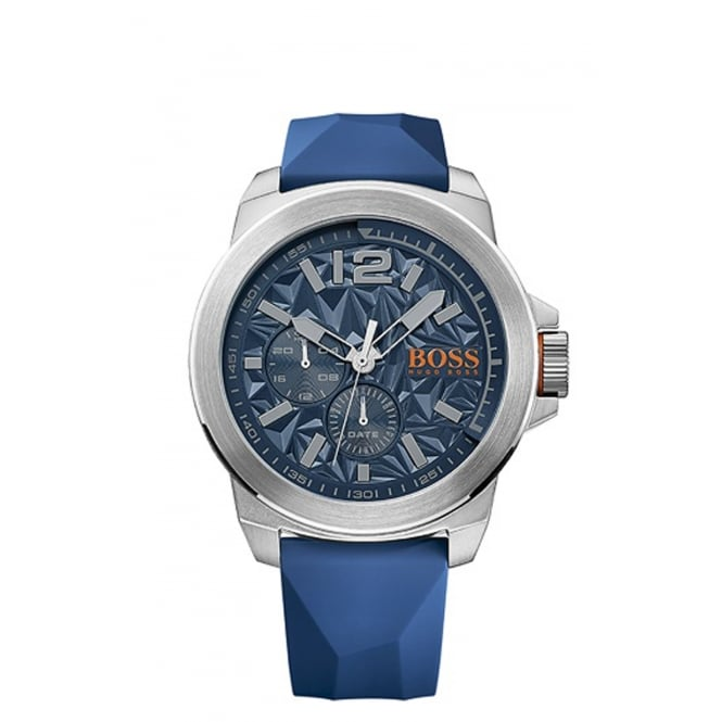 Boss Mens New York Round Blue Dial with a Blue Rubber Strap