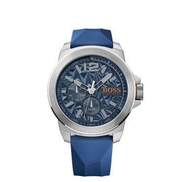 Mens New York Round Blue Dial with a Blue Rubber Strap