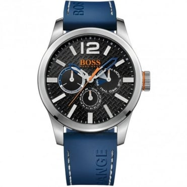 Boss Orange Mens Black Dial Blue Silicone Strap Watch