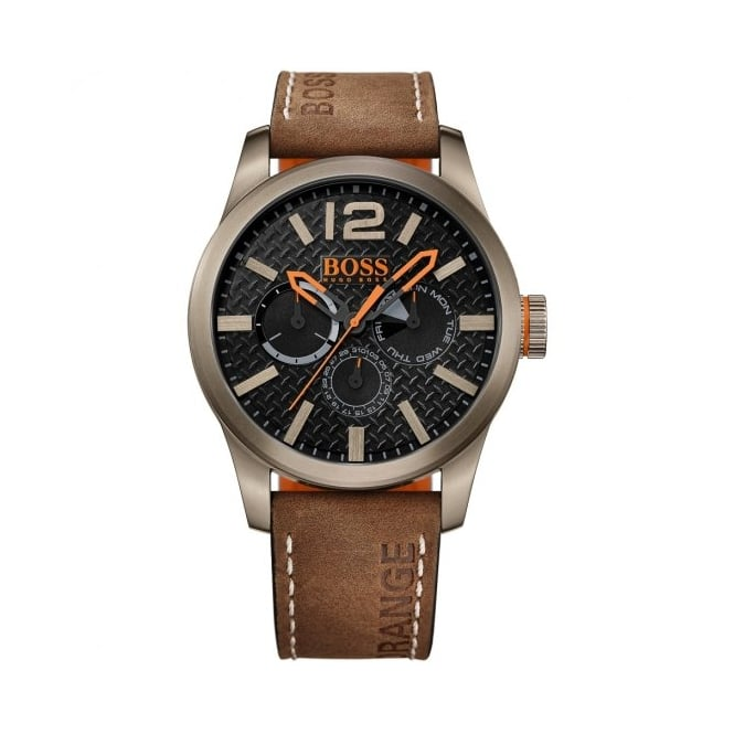 Boss Orange Mens Black Dial Brown Leather Strap Watch