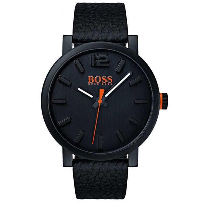 Boss Orange Mens Black Leather Strap Watch