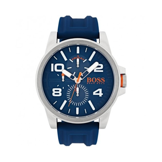 Boss Orange Mens Blue Silicone Strap Watch