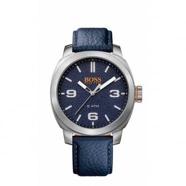 Boss Orange Mens Cape Town Round Blue Dial Blue Strap Watch