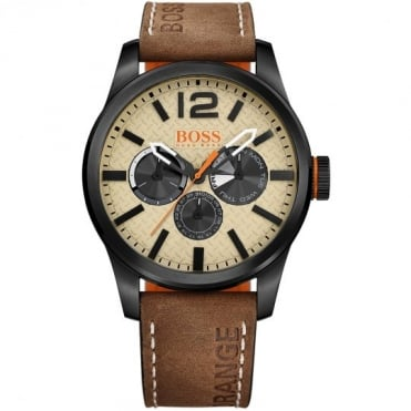 Boss Orange Mens Grey Dial Brown Leather Strap Watch