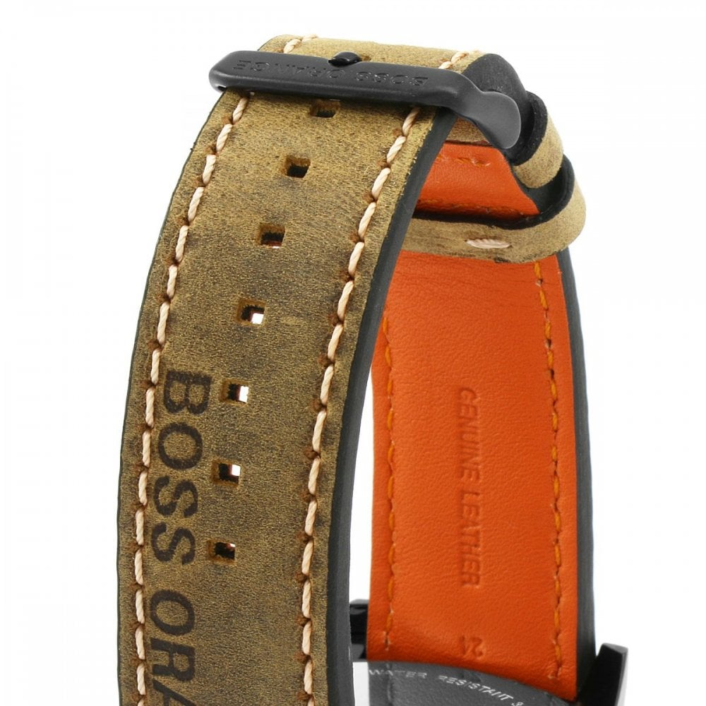 3a89567e291 Boss Orange Mens Grey Dial Brown Leather Strap Watch