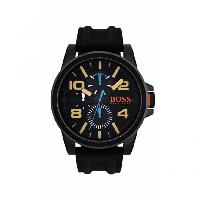 Boss Orange Mens Ion Plated Chronograph Black Resin Strap Watch