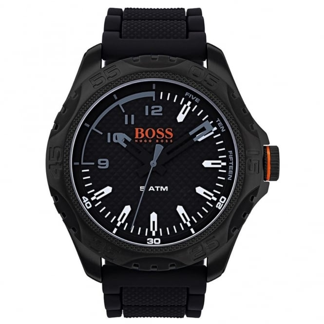 Boss Orange Mens Textured Dial and Black Rubber Strap Watch