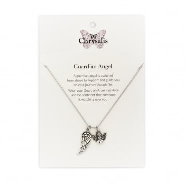 Rhodium Plated Guardian Angel Expandable Necklace