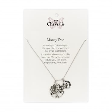 Rhodium Plated Money Tree Expandable Necklace