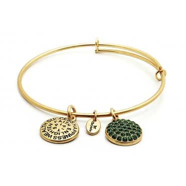 Yellow Gold Plated Emerald Crystal Expandable Bangle