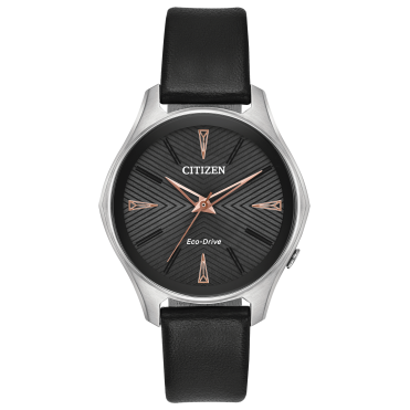 Ladies Eco Drive Modina Round Black Dial Black Strap