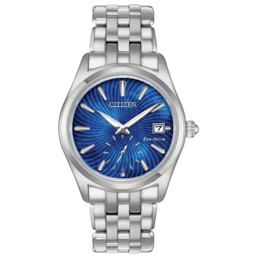 Ladies Eco Drive Round Blue Mother of Pearl Dial with a Stainless Steel Bracelet