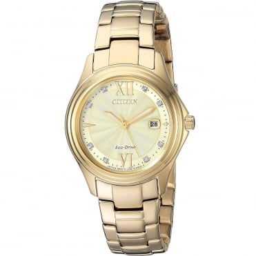 Ladies Eco Drive Round Gold Diamond Dial with a Gold Plated Bracelet