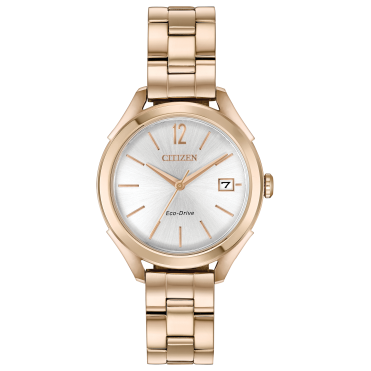 Ladies Eco Drive Round Silver Date Dial with a Rose Bracelet