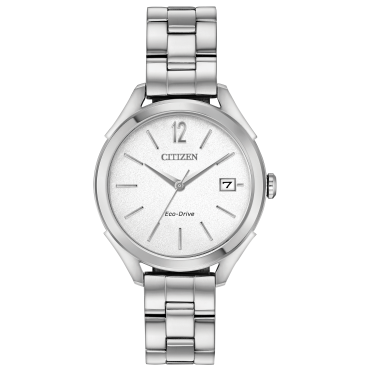 Ladies Eco Drive Round White Date Dial with a Stainless Steel Bracelet