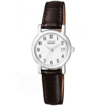 Citizen Ladies Eco-Drive White Dial and Black Leather Strap Watch