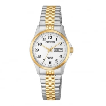 Ladies Quartz Round 50 Metre Day and Date Dial with a Two Tone Bracelet