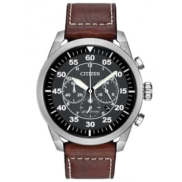Citizen Mens Brown Leather and Stainless Steel Avion Watch
