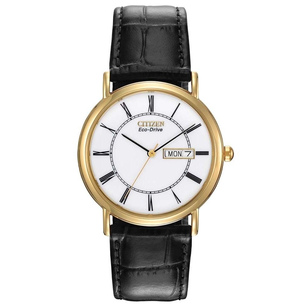 d5c33d28f Citizen Mens Classic Gold Tone Case Black Leather Strap Eco-Drive Watch
