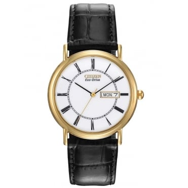 Citizen Mens Classic Gold Tone Case Black Leather Strap Eco-Drive Watch