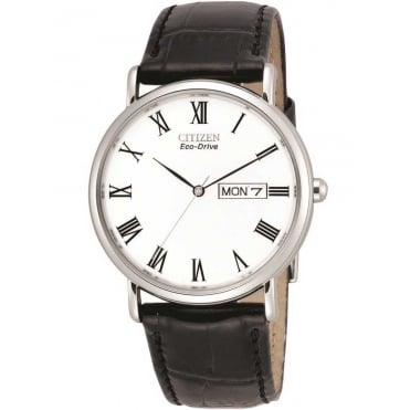 Mens Eco-Drive Black Leather Strap Watch