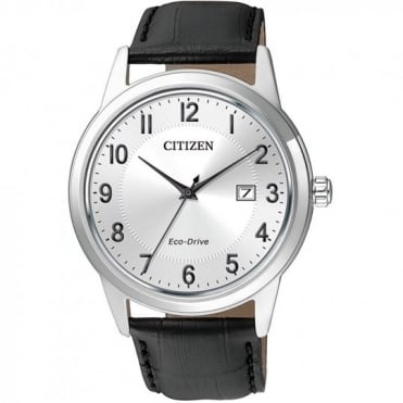 Citizen Mens Eco-Drive Black Leather Strap Watch