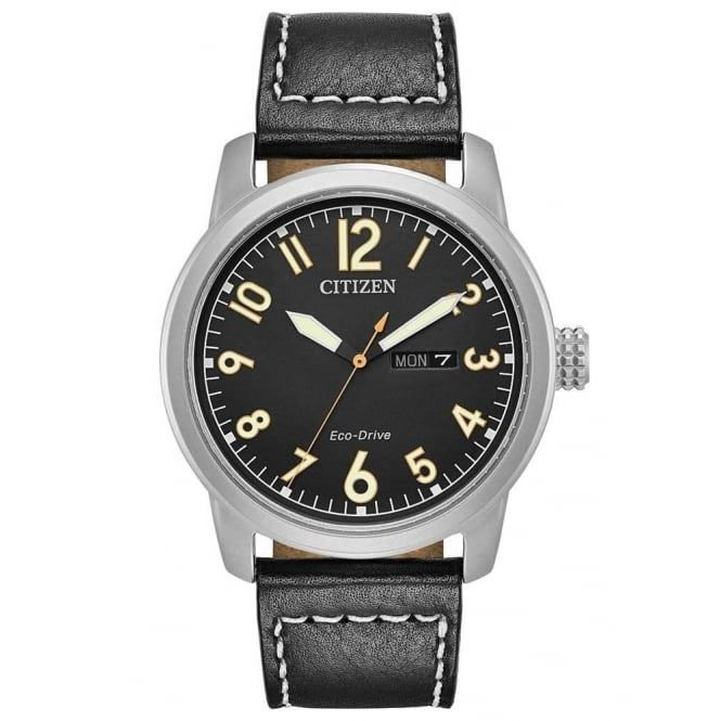 Citizen Mens Eco Drive Black Leather Watch
