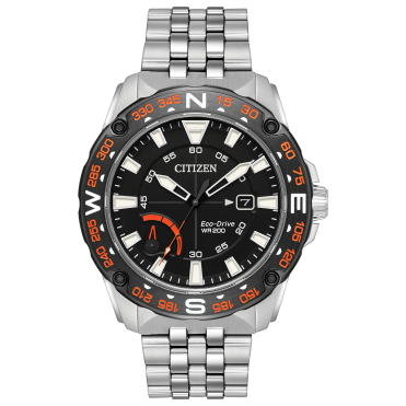 Mens Eco Drive Round Black Date 200m Dial Stainless Steel Bracelet