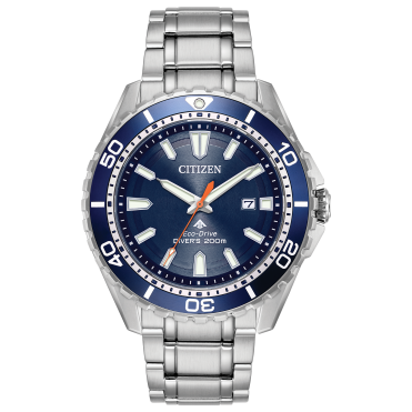 Mens Eco Drive Round Blue Divers 200m Stainless Steel Bracelet