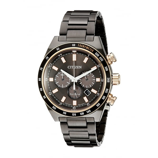 Citizen Mens Eco Drive Round Chronograph Black Date Dial