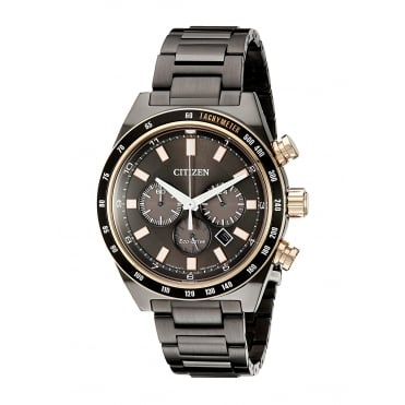 Mens Eco Drive Round Chronograph Black Date Dial