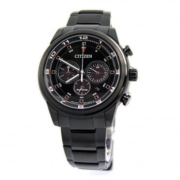 Mens Eco Drive Round Chronograph Stainless Steel Bracelet Watch