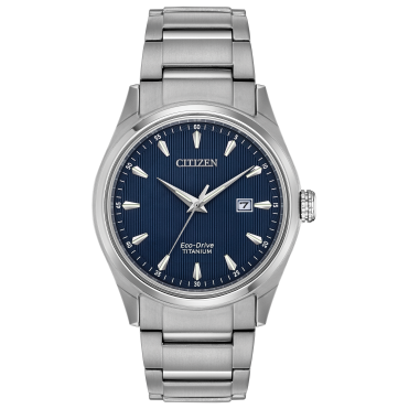 Mens Eco Drive Round Navy Dial with a Titanium Bracelet