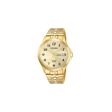 Mens Quartz Round Champagne Day and Date Dial with a Gold Plated Expander Bracelet