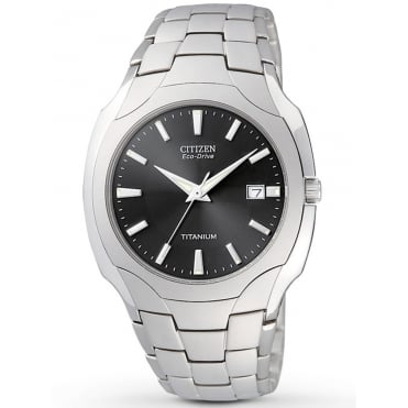 Mens Titanium Eco-Drive Bracelet Watch