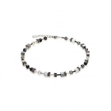 Coeur De Lion Geo Cube Black & White Necklace