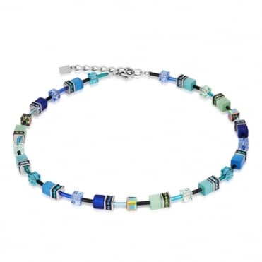 Coeur De Lion Geo Cube Blue & Green Necklace