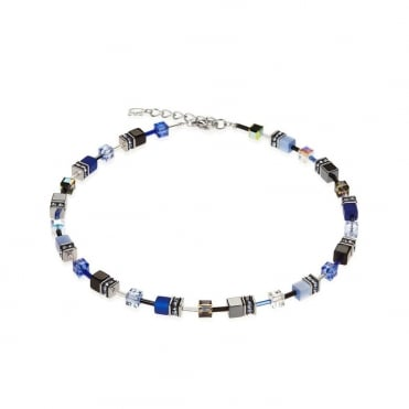 Coeur De Lion Geo Cube Cobalt & Powder Blue Necklet