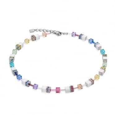 Coeur De Lion Geo Cube Multi-coloured Pastel Necklace