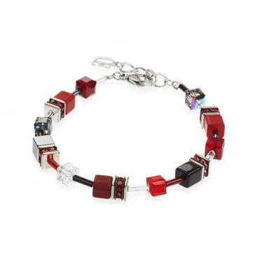 Coeur De Lion Geo Cube Red/Black Bracelet