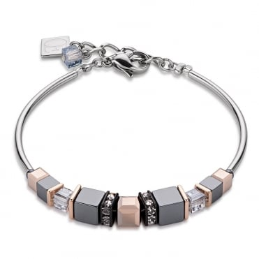 Coeur De Lion Geo Cube Stainless Steel and Rose Gold Plated Bracelet