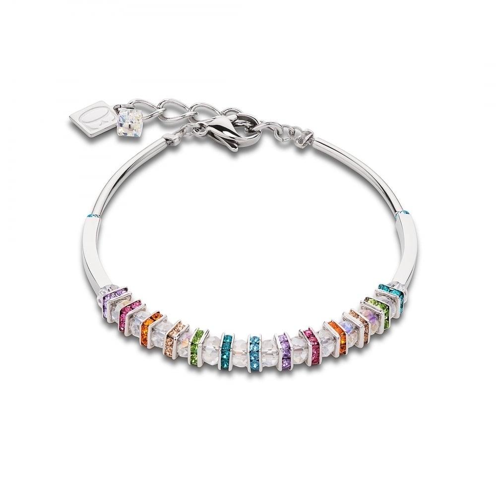 Coeur De Lion Coeur de Lion Multi Coloured Swarovski Crystal Silver Bracelet