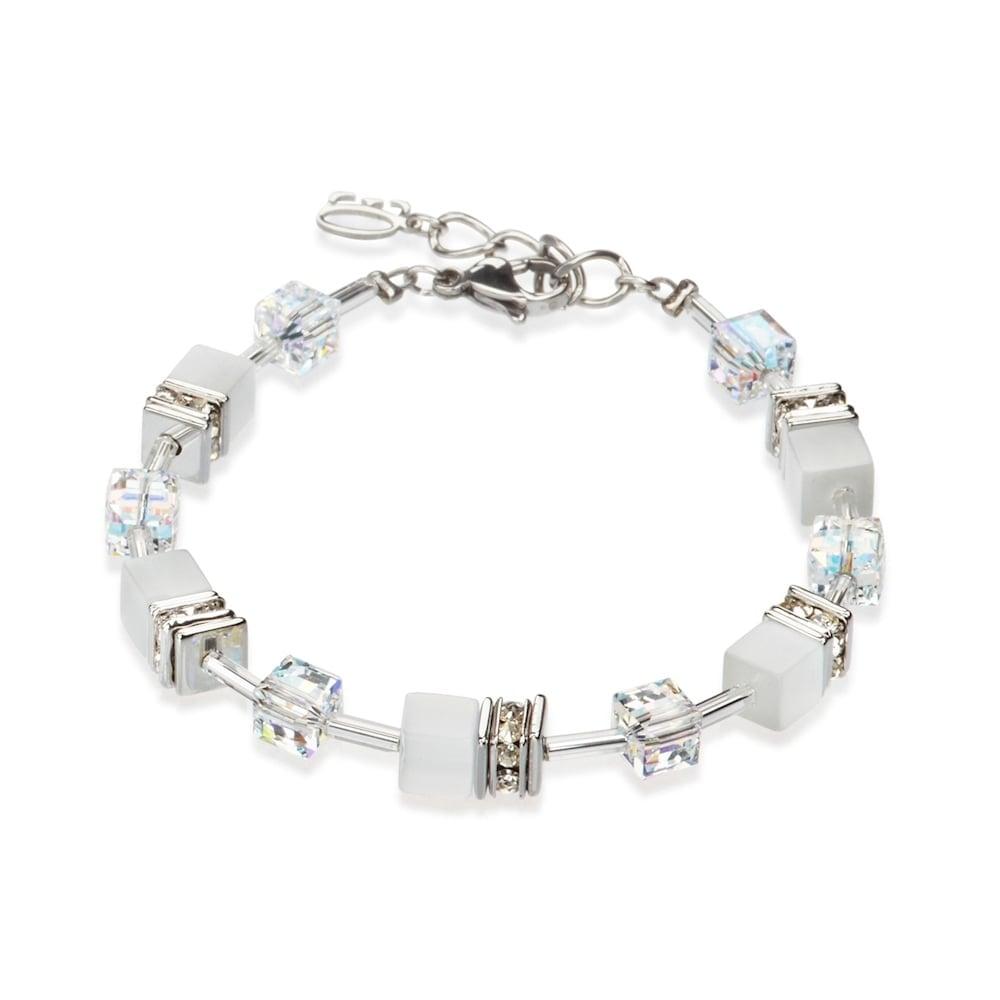 Coeur De Lion Coeur De Lion White Swarovski Crystal Geo Cube Bracelet