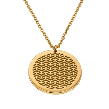 Chevron Gold Plated Round Necklace and Long Chain