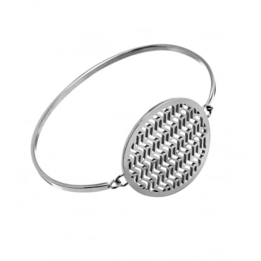 Chevron Steel Round Bangle