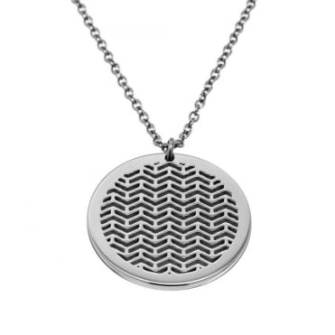 Chevron Steel Round Necklace and Long Chain