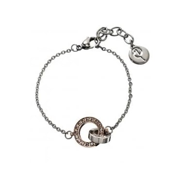 Eternity Orbit Rose Gold Plated/Stainless Steel Thin Bracelet